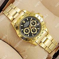 Кварцевые наручные часы Rolex Quartz Daytona Men Gold/Black 1020-0143