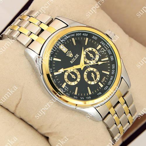 Популярные наручные часы Rolex 028A Silver/Black/Gold 1020-0150