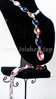 Комплект украшений колье и браслет под серебро с синими и розовыми камнями