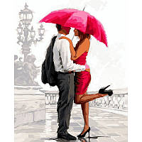 """Раскраска по цифрам """"Влюбленные под алым зонтом Худ МакНейл Ричард """""""