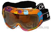 Окуляри гірськолижні дитячі (акрил, пластик, подвійні лінзи, антифог, колір лінз-оранж, опр. кольорова)