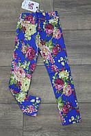 Детские брюки для девочки Пионы. Размер 4 - 12 лет