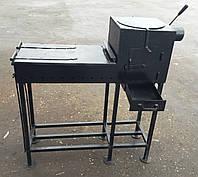 Мангал с печью под казан и откидным столиком сталь 4 мм цельносварной