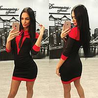 """Стильное мини платье красное с черным """"Воротник бант"""" 42-60р"""