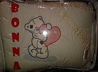 """Фирменный комплект постельного белья с балдахином. Вышивка """"Мишка с сердечком"""""""