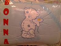 """Фирменный комплект постельного белья с балдахином для мальчика. Вышивка """"Мишка с ромашкой"""""""