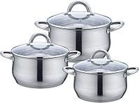 Набор посуды AURORA AU 5562 нерж.сталь, 3предмета/2,5л/3,5 л/6,0 л. 18,20,24 см. крышка стекло