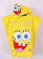 Полотенце пончо для пляжа Спанч Боб желтый