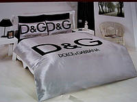 Комплект Атласного постельного белья Dolche&Gabbana chrome с простынью на резинке