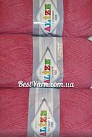 Пряжа нитки для вязания Lanagold Ланаголд 800 полушерсть розовый темный