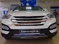 решетка радиатора хромированная без лого для Hyundai Santa Fe IX45 2013+
