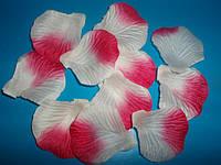 Лепестки роз искусственные 200 шт. Цвет бело-розовый. Украшение праздника, свадьбы, торжества