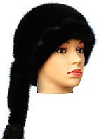 "черная меховая норковая  шапка""Дафна """