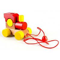 Конструктор из дерева Паровозик со шнурком, красный Ду-01ч Руди