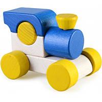 Деревянная игрушка Паровозик Малыш, синий Ду-02 Руди