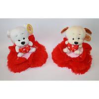 Собачка на сердце - валентинка плюшевая