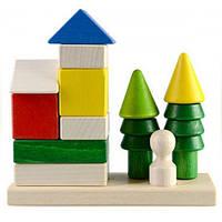 Конструктор из дерева Пирамидка - Домик в лесу Ду-24 Руди, 12 деталей
