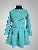 Детский костюм,  двойка, на девочку, цвет мята, юбка и пиджак, праздничный, мега красивый