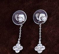 Серьги серебряные Van Cleef на цепочке
