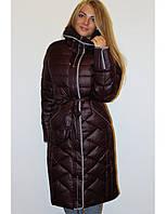 Пальто пуховик женский большого размера с капюшоном р.56