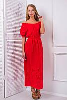 Платье-сарафан из цветного шитья цвет красный Алеся