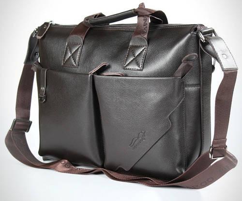 Мужской элегантный кожаный портфель Kangaroo 7170-02, темно-коричневый