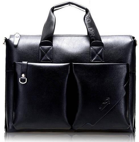 Мужской практичный кожаный портфель Kangaroo 7170-01, черный
