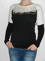 Блузка с круглым воротником из кружева праздничная трикотажная Possession 9709 Турция (два цвета) рр. 46-50