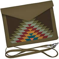 Клатч конверт хаки орнамент