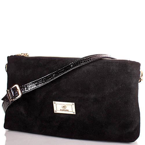 Стильная кожаная женская сумочка-клатч EUROPE MOB, em007, черная