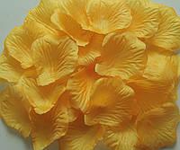 Лепестки роз искусственные 200 шт. Цвет янтарный. Украшение праздника, свадьбы, торжества