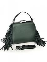 Женская кожаная зеленая сумка
