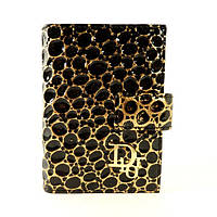 Визитница кожаная женская Dior черная с золотом