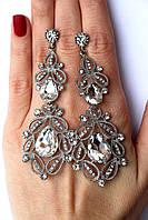 Серьги женские Селеста серебро с белым , серьги цена