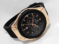 Мужские часы HUBLOT Geneve - черный ремешок, цвет корпуса gold