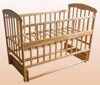 """Кроватка для новорожденных """"Наталка"""" с маятником и откидной передней стеночкой  светлая, тёмная"""