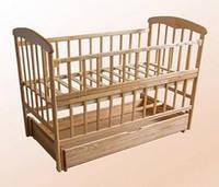 """Кроватка для новорожденных """"Наталка"""" с маятником и ящиком  и откидной передней стеночкой светлая, тёмная"""