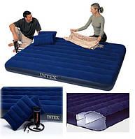 Матрас надувной Intex 68765 + насос и 2 подушки, 152см