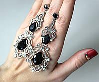Серьги женские Виктория черное серебро, женские сережки