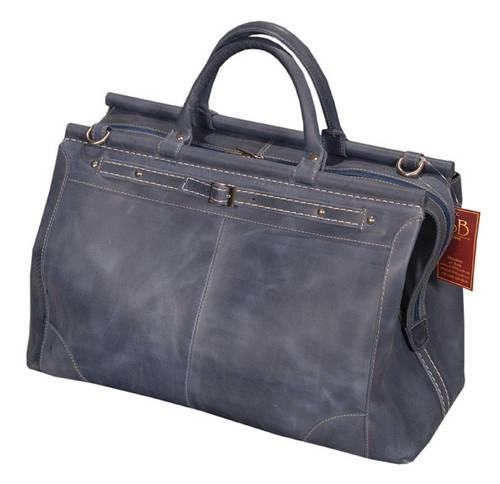 Удобная кожаная сумка-саквояж 28 л SB 1995 702062 темно-синяя