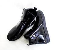 Демисезонные женские ботинки на низком ходу, подошва утолщенная, кожа питон, фото 1