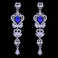 Длинные серьги-люстры с синими камнями