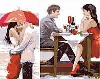 Раскраска по цифрам Идейка Диптих Первое свидание (2 картины, 40х20, 40х30см) KH2617