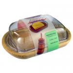 Масленка на деревяной подставке с пластиковым нижним судочком и пластиковой крышкой PRESIDENT LINE 3470