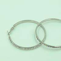Серьги - кольца женские с родиевым покрытием и камнем циркония 0439