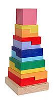 Деревянная игрушка Пирамидка Квадрат Д007у Руди