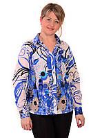Блузка рубашка туника из полированного хлопка,46,48,50,52,54 , Бл 001-2