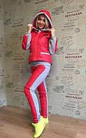 Женский утепленный комбинированный спортивный костюм тройка в расцветках АШ196