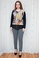 Модная трикотажная кофта с принтом, фото 1