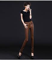 Оригинальные узкие кожаные брюки